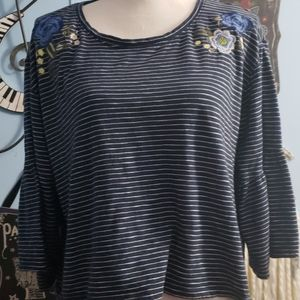 Hollister Navy Striped Top sz M, Thrifted